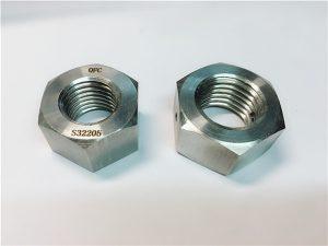 Č. 76 Duplex 2205 F53 1.4410 S32750 z nerezové oceli, upevňovací prvky z těžké šestihranné matice